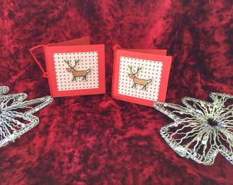 Reindeer christmas gift tags, handmade, cross stitched, blank his, hers, boy,girl.