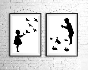Large Rabbit Bird Shadow Puppet Silhouette Print Set Black and White Rabbits Bunny Bunnies Hare Birds Victorian Unusual Nursery