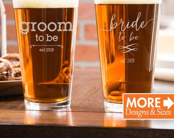 Engagement Gift, Mr And Mrs Beer Mugs, Beer Glasses, Groomsmen Gift, Monogram Beer Glass,  Engagement Pint Glass, Wedding Glassware