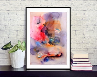 Digital art print of watercolor abstract painting on hight quality fine art paper in violet, red, blue, orange, pink, 30x40 cm, 50x70 cm