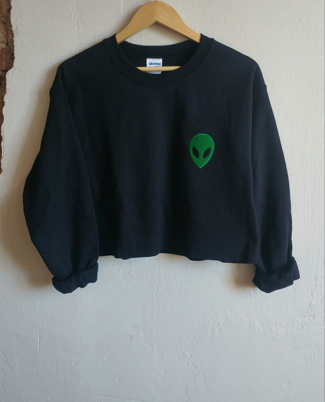 Gray Acid Alien Sweatshirt, grunge, tumblr