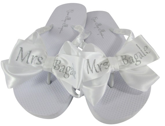Wedding Ivory Flop glitter Mrs any Wedge name Flops pink hot Platform Bridal colors with new White last White bling Flip Flip wPanxzZqO