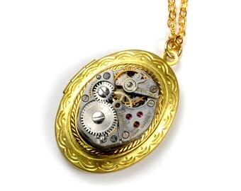 Steampunk Vintage Watch Brass Locket Necklace