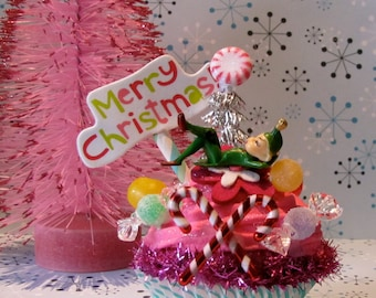 """Fake Cupcake """"Kitschy Christmas Cupcake Collection"""" """"Sweet Daydreamer Elf"""" 12 Legs Original Holiday Decor Can Be Made Into Ornament"""