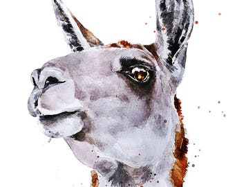 """Llama"""" Print Watercolour A3 (30*40cm/16*12 Inches)"""
