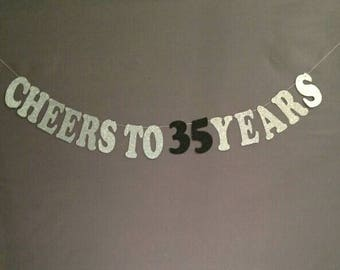 35th Birthday Decorations, Happy Birthday, 35th Bithday, Cheers to 35 Years, Glitter Banner, Birthday Party Decorations, Cheers and Beers