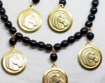 Vintage Etruscan Horse Necklace And Earring Set - Gold And Black - Dangle Earrings - Black Beads - Near Mint