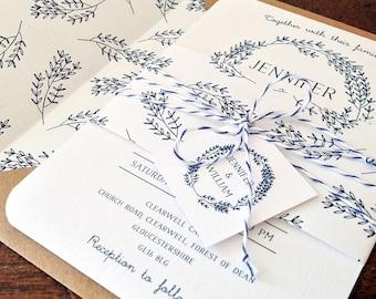 50 x Rustic Kraft Lined Envelope Botanical Wedding Invitation Suites | Wedding Invitation Bundle | Simple Floral Wedding Stationery | Navy