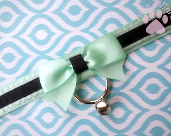 Mint and Black Collar, Kitten Play Collar, Bondage Collar, Creepy Cute Collar, BDSM Collar, Ribbon Collar, Submissive Collar, DDLG Collar