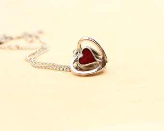 Red Heart Necklace, Heart Necklace, Enamel Necklace, Silver Heart Necklace, Cage Heart Necklace