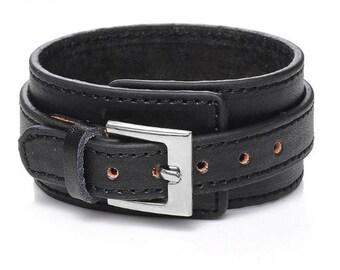Genuine Leather Bracelet - Men's Wide Cuff Bangles - Adjustable Buckle Wristband - Male Jewelry Black & Brown