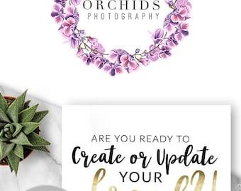 125 - Orchids,  LOGO Premade Logo Design, Branding, Blog Header, Blog Title, Business, Boutique, Custom, Modern, Floral, Flower
