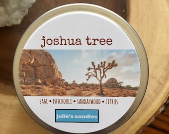JOSHUA TREE brings the desert to you with notes of sage, patchouli and sandalwood with a citrus accent. Soy wax candle, travel tin. Relax.