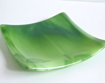 Green and White Streaky Fused Glass Plate by BPRDesigns