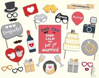 Printable Wedding Photo Booth Props, wedding party Photo booth Props, printable wedding props,  wedding party props, Just married props
