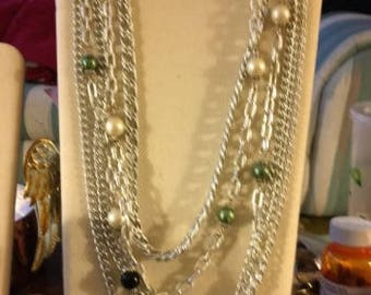 Vintage Opera Length Pearl and Chain Necklace
