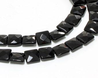 "GU-1348-1 - Black Onyx Faceted Square Beads - 12x12mm - Full 16"" Strand"