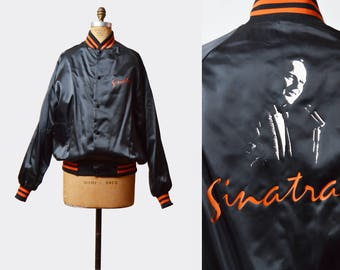 Vintage 80s Satin Baseball Jacket 1980s Frank Sinatra Staff Bomber Retro Nylon Normcore Striped Hipster Black Orange Large
