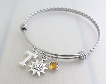 Steampunk Sun Charm Stainless Steel Bangle, Birthstone Initial Bangle, Personalised Silver Letter Charm Bracelet, Space Gift, Steampunk Gift