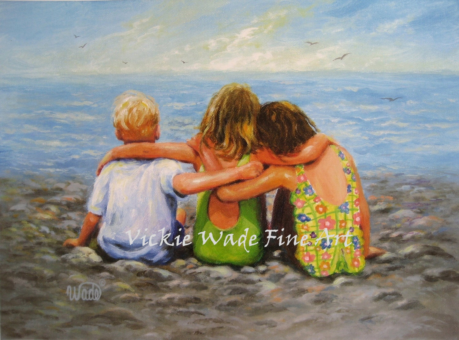 Three Beach Children Hugging Art Print Two Brunette Sisters