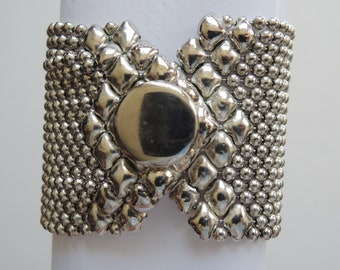 Silver Tone Ball Chain Link Multi Strand Cuff Bracelet Vintage 1970s