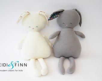 Sample SALE Pillow doll Bunnies keepsake gift OOAK ivory vintage grey gray ready to ship
