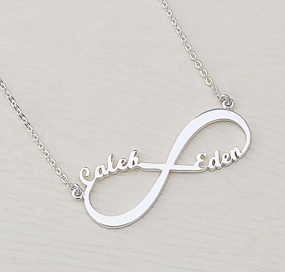 name nameplate layered products necklace infinity with two be silver monogrammed names