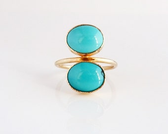 Turquoise Stacker ring, Cleo Gemstone Ring, Stackable band | READY to SHIP | Recycled 14k Gold, Sleeping Beauty Turquoise ring