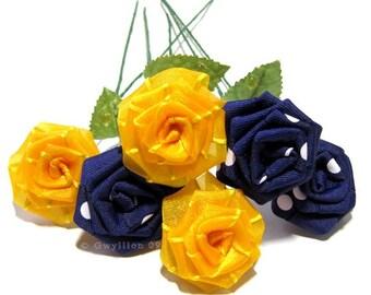 Polka Dot Purple Gold Rose Bouquet