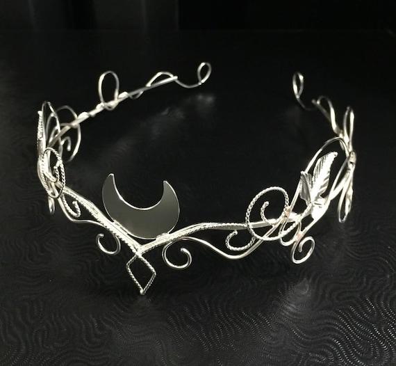 Silber Mond Elfen reif Wald Crescent Moon Tiara Handwerker