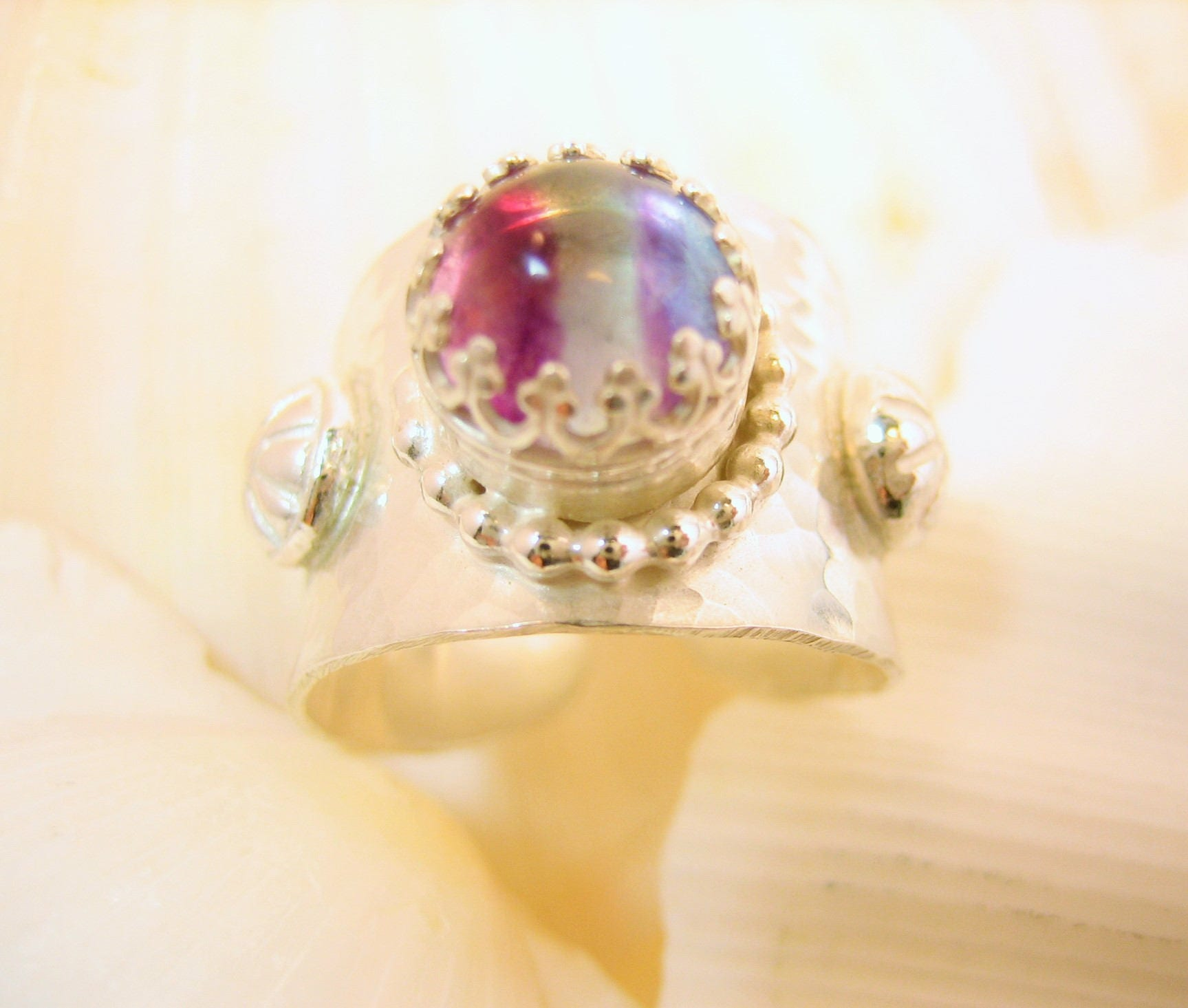 Princess rainbow adjustable ring, hammered silver adjustable ring with rainbow gem, rainbow fluorite ring, fairy rainbow ring, regal ring