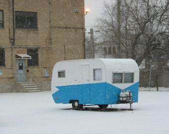 Mid Century photography, vintage camper, Americana, camper photo, 50s, 60s, travel, art, retro decor, blue, white, snow - SNOWY CAMPER