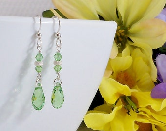 Green Swarovski Teardrop Sterling Silver Earrings, Peridot Briolette Earring Crystal Jewelry