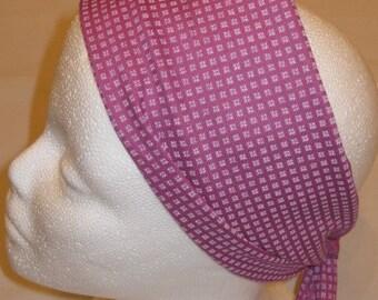 Vintage Purple & White Floral Print Scarf/Head Wrap