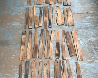 Retro Wood Vintage Shingles Mixed Sizes Vintage Art Recycle Lot of 50 Plus As Pictured
