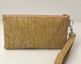Cork Bag Yellow Straw/Clutch/Wallet/Purse/Cellphone Bag/Pouch/Wristlet/Makeup Bag/Handcrafted/Zippered/Coins/Cards/Earbuds
