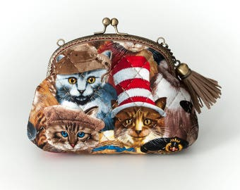 6″ Kiss lock - Clutch Bag, Cats In Hats Natural