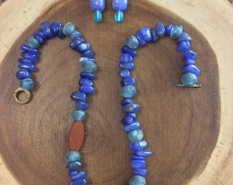 Blue gemstone necklace and earrings