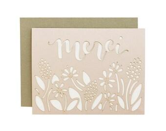 Merci - Floral Laser Cut Card in Blush Pink