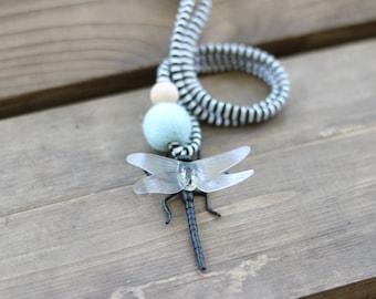 Dragonfly - Children's Felt Ball Bug Necklace