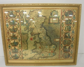 John Speed Gold Foil Map Of The BRITISH ISLES 1610-12