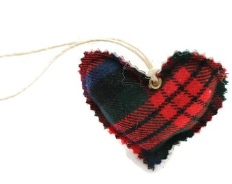 Plaid hearts on a string