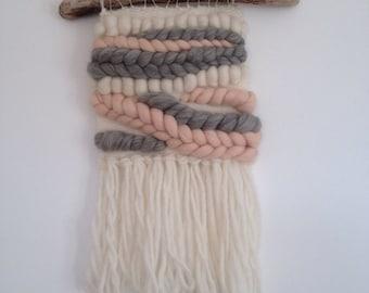 Woven Wall Hanging Weaving Blush Grey Cream