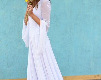 Hippie wedding dress, Bohemian bride, Long sleeve sheath wedding dress, Sheath wedding dress with sleeve, Magnolia Leaves