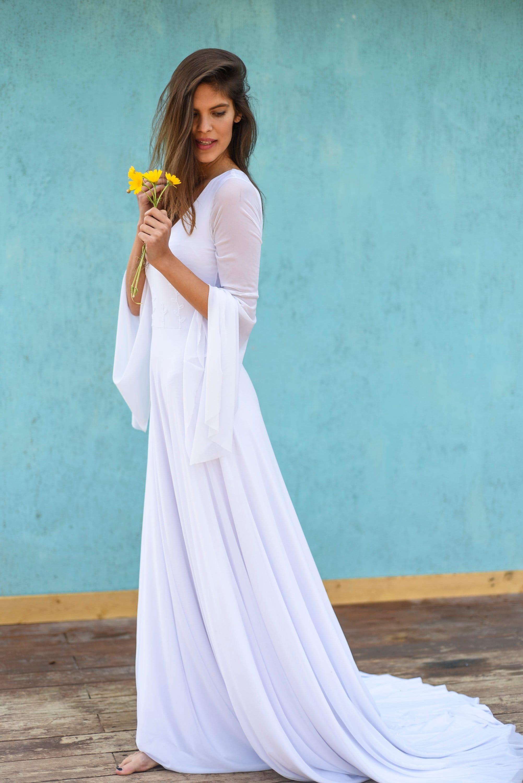 Hippie wedding dress Bohemian bride Long sleeve sheath