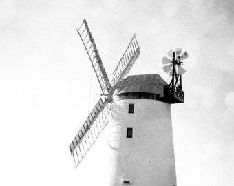 Black and White Photography - Windmill Print - Sunny Irish Windmill - County Down - Northern Ireland - 8x10