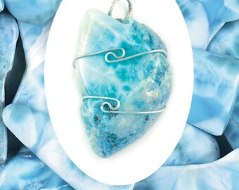 One Larimar Wire Wrap Pendant! .925 Sterling Silver! Very Rare & Powerful! Calms Difficult Emotions! Enhanced Communication! Throat Chakra!