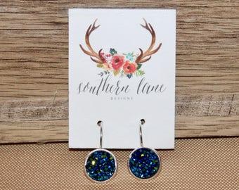 Blue Green Druzy Earrings