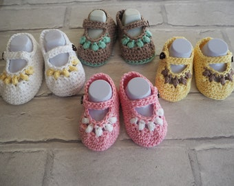 Mary Jane cotton booties, cotton baby sandals. baby shower gift, christening shoes, baby shoes.