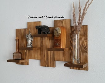 Wood pallet shelf, Wall display shelf, Knick knack shelf, Curio shelf, Farm house decor, Primitive country, Rustic wood shelf, Wooden shelf